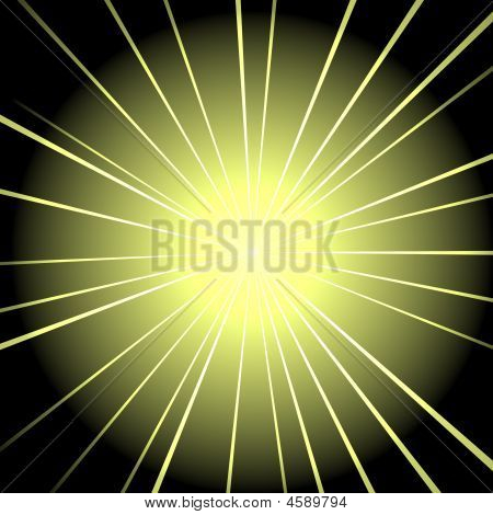 A star exploding in a yellow cloud on a black background poster