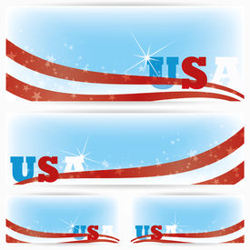 Background banners of USA flags, brochure