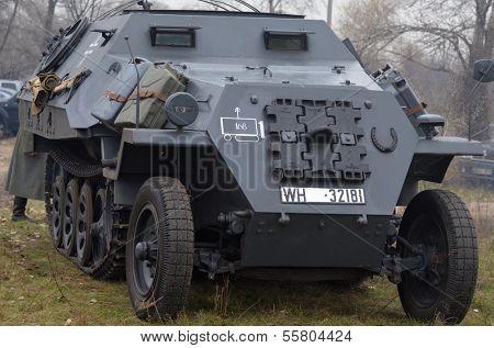 Kiev, Ukraine - November 3: German armored truck is displayed on the Field of Battle military history festival on November 3 , 2013 in Kiev, Ukraine