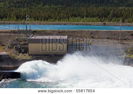 Hydro Power Station Dam Open Gate Spillway Water