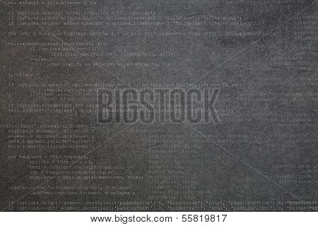 Deep gray textured background with code elements poster