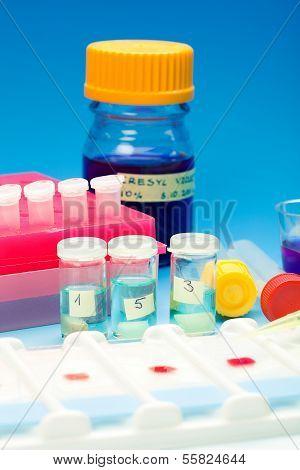Conjunto de muestras de sangre para microscopia y tejido de la biopsia en el fondo degradado azul
