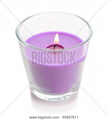 Beautiful colorful candle isolated on white