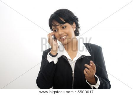 Corporate Indian Woman On Mobile Phone