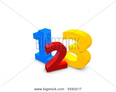 3d image 123 easy simple step over white background poster