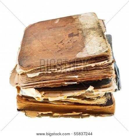 stack of manuscripts isolated on white background poster