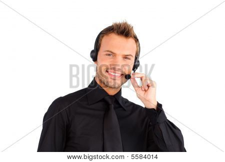 Smiling Customer Service Representative Man