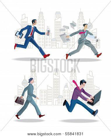Businessmen Running In The City