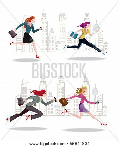 Businesswomen Running In The City