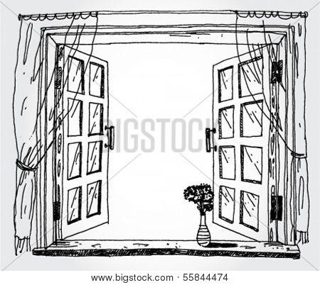 Illustration of opened window
