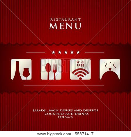 Vector Paper Restaurant Menu Design  On Red Background Cover