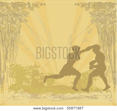 Muay Thai (combat Martial Art From Thailand) - Kickboxing, Grunge Background
