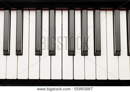 grand piano ebony and ivory keys, closeup view