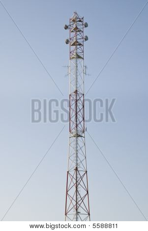 antenna communications tower against a background of blue sky cellular operator of the high metal repeater poster