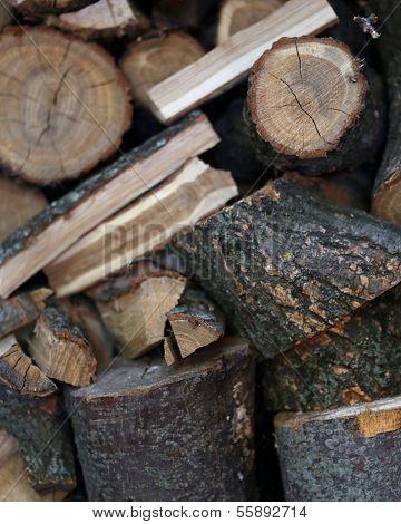 Background of dark firewood.