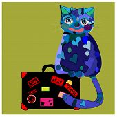 Concept cat in cartoon style. Vector illustration. Travel concept: the cat and a suitcase to travel. poster