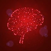 circuit board  background, technology illustration, form of brain poster