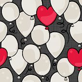 flying colorful gray and red round and heart shaped balloons party time seamless pattern on dark