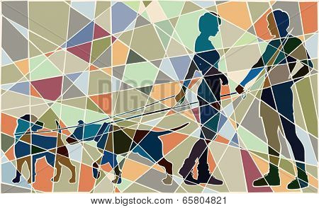 Editable vector colorful mosaic illustration of a man and woman and their pet dogs interacting