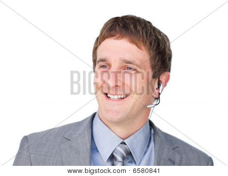 Attractive Customer Service Agent With Headset On