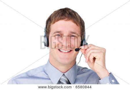 Positive Businessmnan With Headset On