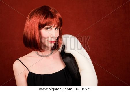 Socialite With Brassy Red Hair