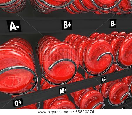 Blood cells in a snack or vending machine to illustrate donation of plasma