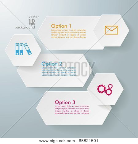 Infographic 3 Options Long Hexagons