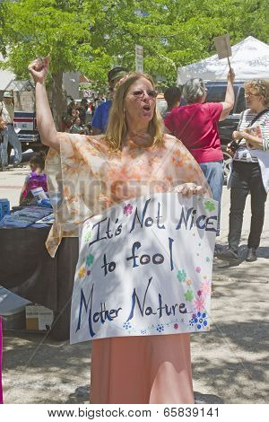Woman And Others Protest Genetically Modified Foods