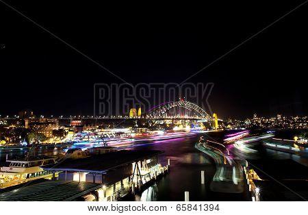 Lights on Sydney Ferries for Vivid Festival
