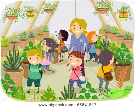 Illustration of Kids Touring a Greenhouse poster