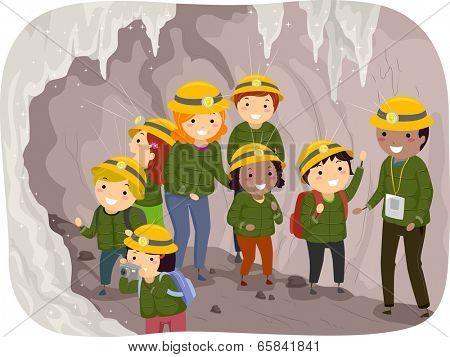 Illustration of Preschool Kids on a Cave Tour