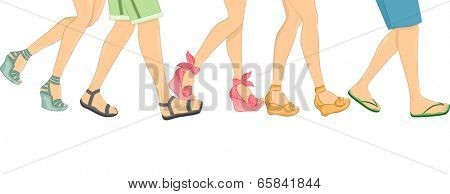 Cropped Border Illustration Featuring Walking People Wearing Different Styles of Sandals