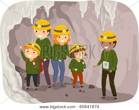 Illustration of a Family on a Cave Tour
