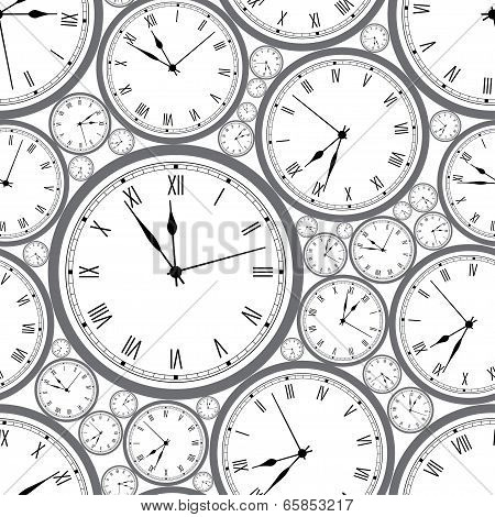 Seamless pattern with watches. Stylish vector texture.