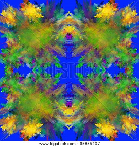 Colorful symmetrical fractal background. Computer generated graphics. poster