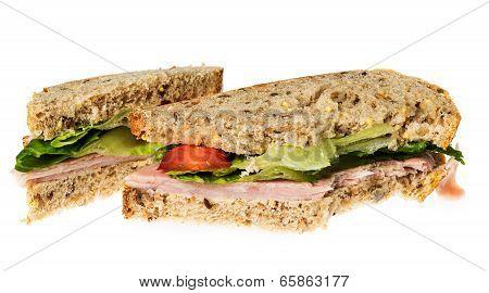 English Multigrain Bread Ham Sandwich With Bite