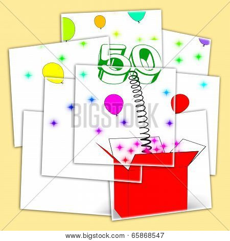 Number Fifty Surprise Box Displays Fiftieth Birthday Or Birth Anniversary