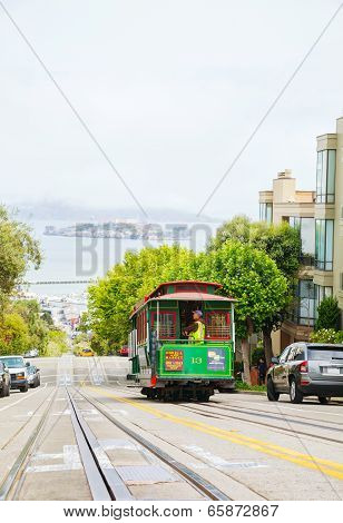 Famous Cable Car At A Steep Street