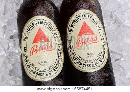 Bass Pale Ale Bottles On A Bed Of Ice
