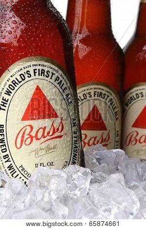 Closeup Of Bass Pale Ale Bottles