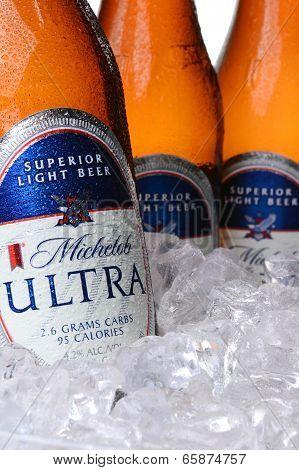 Closeup Of Michelob Ultra Bottles