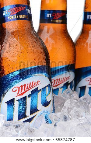 Closeup Of Miller Light Beer Bottles