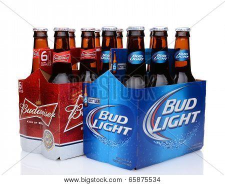 Six Packs Of Bud Light And Budweiser