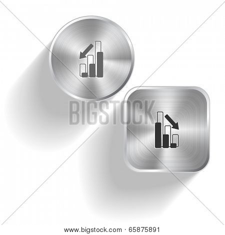 Graph degress. Vector set steel buttons