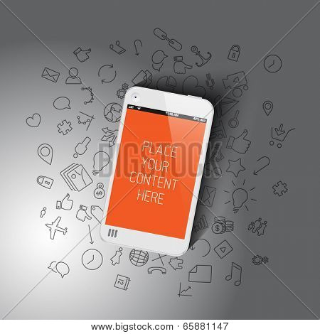 Realistic smartphone template with background icons and place for your content