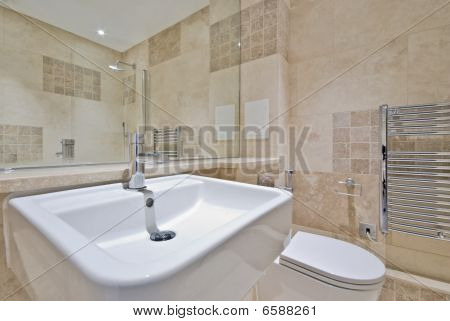 detail of a modern en-suite bathroom with a toilet and white wash basin