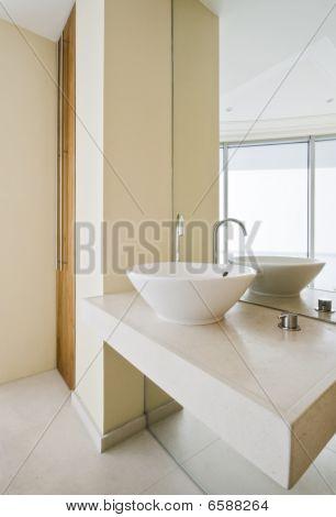 modern luxury marble bathroom with decorative elements
