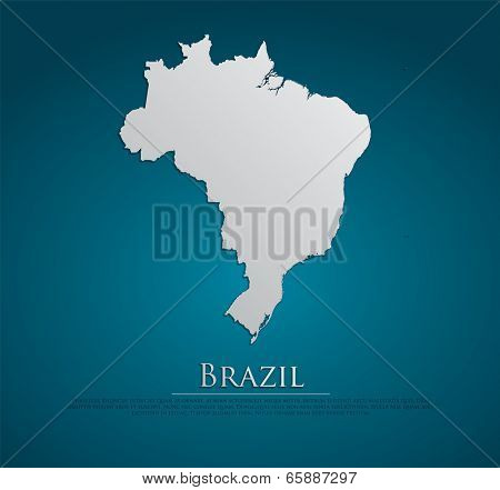 Brazil map card paper 3D natural, high detailed vector