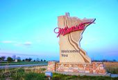 Minnesota welcomes you sign at the state border poster